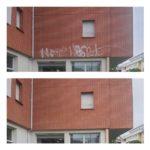 gommage de graffiti sur briques par Aérogommage Toulouse